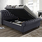 Happy Beds Castello Fabric Side Ottoman Storage Bed - Charcoal - Charcoal