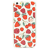 iPhone 6 Fun and Quirky Fruity Pattern Clear Silicone Case - Red