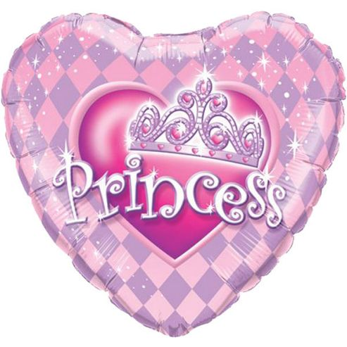 Heart Princess Tiara Balloon - 18 inch Foil