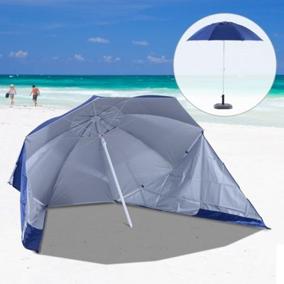 Outsunny Uv Protection Fishing Beach Umbrella W Side Panel Tent Blue No Base Included