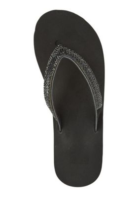 F&F Beaded Wedge Flip Flops Black Adult 3-4