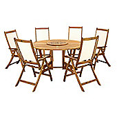Henley 7pc Round Garden Dining Set - Henley 150cm Round Gateleg Table & Lazy Susan with 6 Henley Recliners