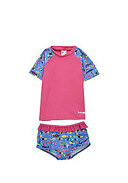 Babeskin UPF 50+ Fish Print Rash Top and Shorts Set - Multi