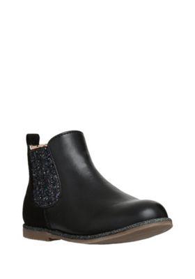 F&F Glitter Panel Chelsea Boots 05 Child Black
