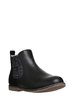 F&F Glitter Panel Chelsea Boots - Black