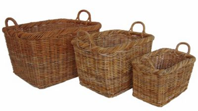 Wicker Valley Lacak Rattan Storage Basket (Set of 3)