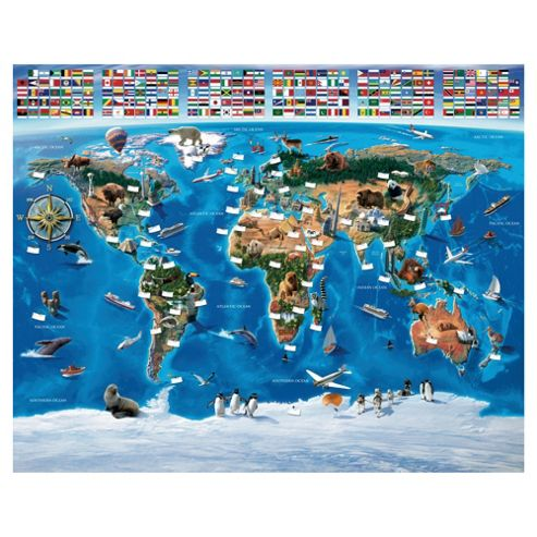 Map of the World Wallpaper Mural 8ft x 10ft
