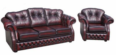 Chesterfield Lancashire 3 seater+armchair Leather Sofa Suite antique oxblood