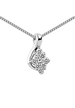 Jewelco London Rhodium Coated Sterling Silver CZ Cluster Pendant