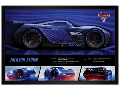 Cars 3: The Movie Black Wooden Framed Jackson Storm Stats Poster 61x91.5cm
