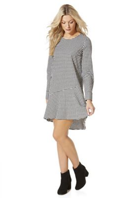 Vila Gingham Asymmetric Peplum Hem Dress M Black & White