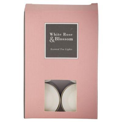 Tesco White Rose and Blossom Tea Lights, Pack of 12