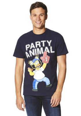 The Simpsons Homer Party Animal T-Shirt Navy 2XL