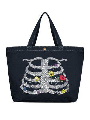 Unorthodox Rib Cage Canvas Shopper Bag 47 x 31 x 13cm, Dark Denim