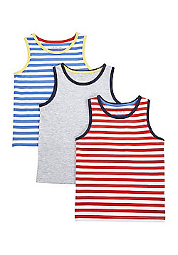 F&F 3 Pack of Striped and Plain Vest Tops - Multi