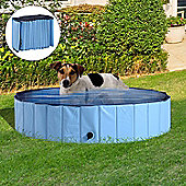 PawHut Pet Swimming Pool Indoor / Outdoor Bathing Tub Foldable (Φ140 x 30H (cm), Blue)