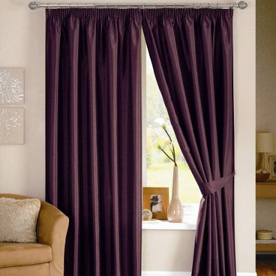 Dreams N Drapes Java Lined Curtain Including Tiebacks - 116.84cm x 182.88cm - Aubergine