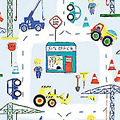 Road Works Ahead Construction Wallpaper - Blue 11051