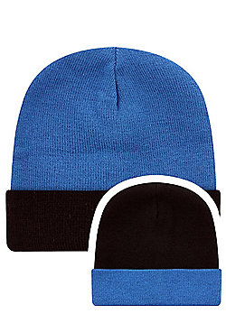 Sapphire Blue & Navy Reversible Slouch Beanie - Blue