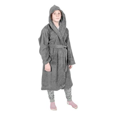 Homescapes Charcoal Grey 100% Combed Egyptian Cotton Hooded Kids Bathrobe, Small