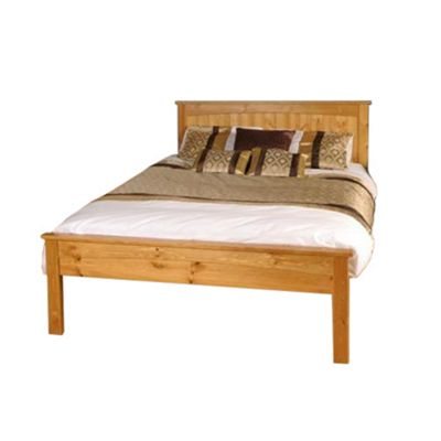 Comfy Living 4ft6 Double Solid Low End Wooden Bed Frame in Caramel with Damask Sprung Mattress