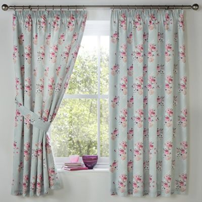 Dreams n Drapes Penelope Duck Egg Lined Curtains 66x72 Inches (168x183cm)