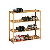 Decorative Shoe Footwear Rack 4 Tier Natural Walnut Durable