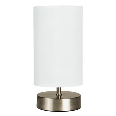 Francis Touch Table Lamp, Brushed Chrome & White