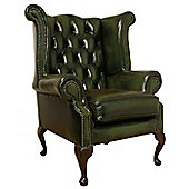 Chesterfield Queen Anne High Back Wing Chair - Antique Green