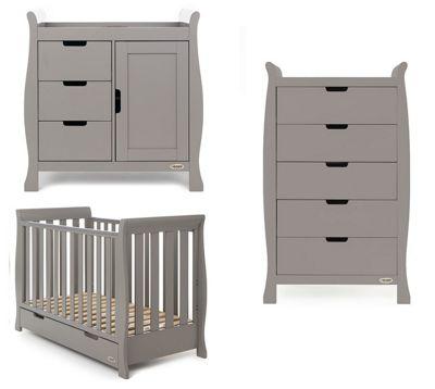 Obaby Stamford Classic Mini 3 Piece Nursery Room Set - Warm Grey