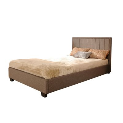 Comfy Living 3ft Single Slatted Detailed Fabric Bed Frame in Mocha with Sprung Mattress