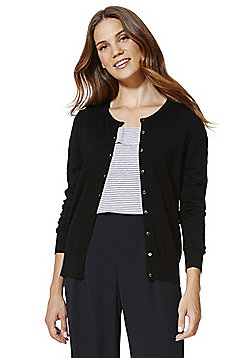 F&F Crew Neck Cardigan with As New Technology - Black