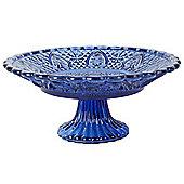 Vintage Crystal Look Blue Glass 25cm Cake Plate Display Stand