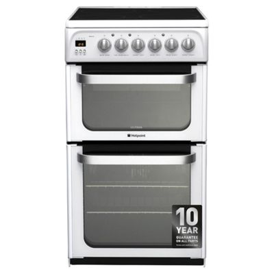 Hotpoint HUE53PS Ultima Electric Cooker with Electric Grill and Ceramic Hob - White