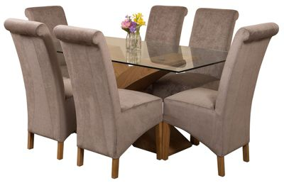 Valencia Small Oak 160cm Modern Glass Dining Set Table + 6 Grey Fabric Chairs