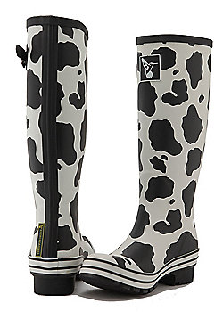 Evercreatures Ladies Evergreen Wellies Cow Print Pattern in White - Size 7 (UK)