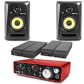 KRK RP5 G3 Focusrite 2i2 Generation 2 USB Audio Interface & Powered Studio Monitor Package Includes JB's Cables And Mopad Isolation Pads
