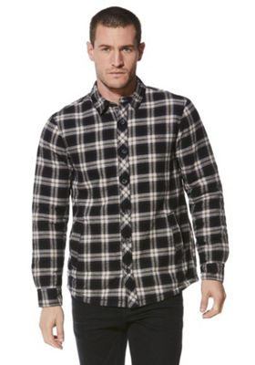 F&F Borg Lined Checked Shirt 2XL Navy
