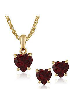Gemondo 9ct Yellow Gold 4 Claw Set Garnet Heart Stud Earring & 45cm Necklace Set
