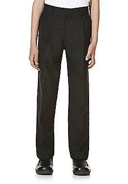 "F&F School 2 Pack of Boys Teflon EcoElite""™ Flat Front Slim Leg Trousers - Black"