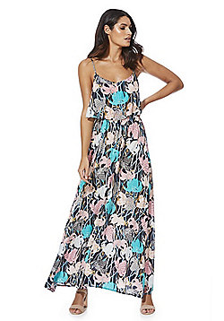 Stella Morgan Abstract Floral Print Layered Maxi Dress - Multi