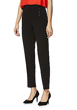 F&F Button Detail Ankle Grazer Slim Leg Trousers - Black