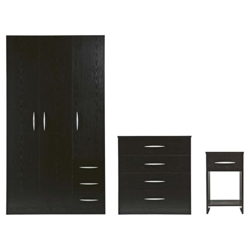 Ashton Triple Wardrobe Furniture Set, Black