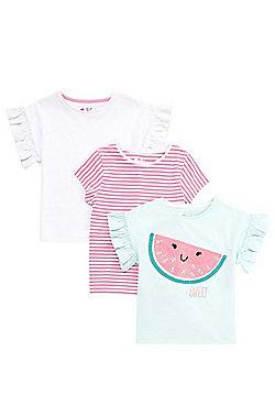 F&F 3 Pack of Watermelon Motif T-Shirts - Multi