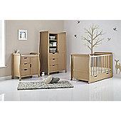 Obaby Stamford Cot Bed 4 Piece Sprung Mattress Nursery Room Set - Iced Coffee