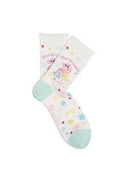 Peppa Pig Most Wonderful Mummy Slogan Ankle Socks - Cream