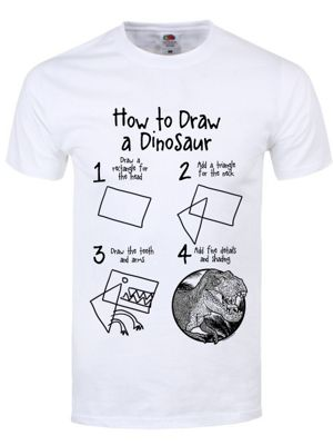 How To Draw A Dinosaur Men's T-shirt, White