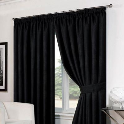 Dreamscene Pair Basket Weave Pencil Pleat Curtains, Black - 66