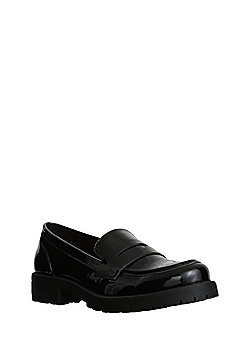 F&F Heeled Patent Loafers - Black