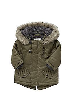 F&F Faux Fur Trim Coated Parka - Khaki